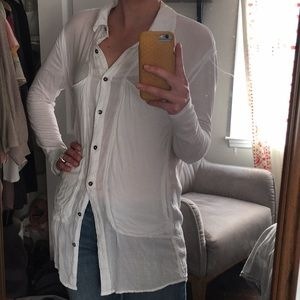 FREE PEOPLE Beach Button Down (in Pure White)